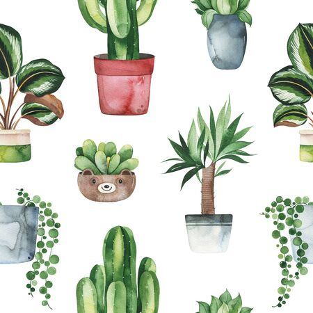 Watercolor potted plants texture.Fresh seamless background.Perfect for your project, print, wallpaper, print, gift paper, wedding, greeting, invitations, wall arts Stockfoto