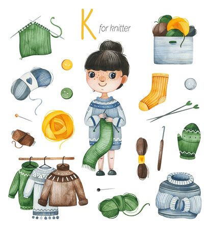 Watercolor Alphabet Profession set.Learn letters with funny professions.Knitter for K letter.Perfect for education, baby shower, children prints, template card, books, greeting, your project and much more Stockfoto