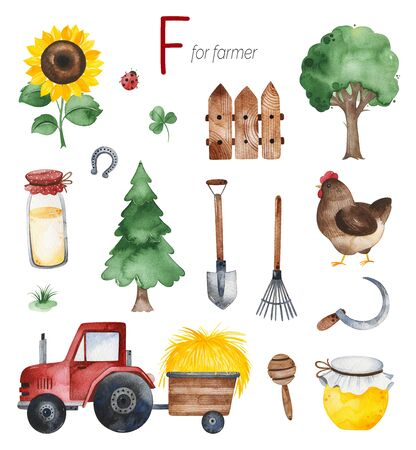 Watercolor Alphabet Profession set.Learn letters with funny professions.Farmer for F letter.Perfect for education, baby shower, children prints, template card, books, greeting, your project and much more