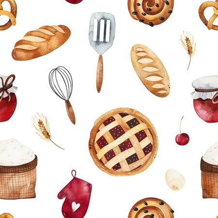 Watercolor Seamless Pattern. Bakery texture with bread, cake, pie, wheat, cooking tools, glove, pretzel, jam and more. Perfect for print, packaging and template design, cover, books, wallpapers.