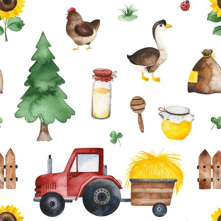 Watercolor Seamless Pattern. Farmer texture with tree, honey, tractor, goose, chicken, clover, sunflower and more. Perfect for print, packaging and template design, cover, books, wallpapers.