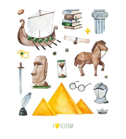 Watercolor History set.Texture with cute historical oblects: crown, antique column, trojan horse, sandglass, Egyptian pyramid, armour.Perfect for print, logo, education, template design, cover, book, invitation