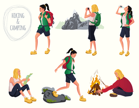 Set of cartoon camping and hiking women with backpack, water and campfire. Woman taking pictures of nature, mountains. Sport activity people. Vector illustration.