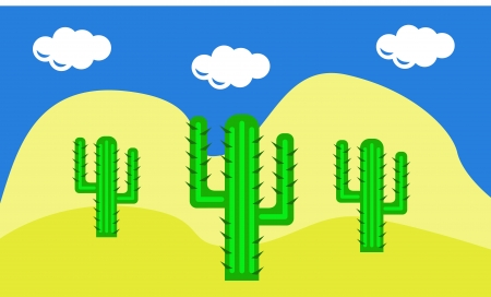 three cactuses in the desert in mexico Vector