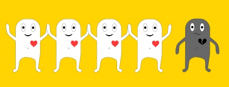 personne seule: les gens heureux et une seule personne - la solitude