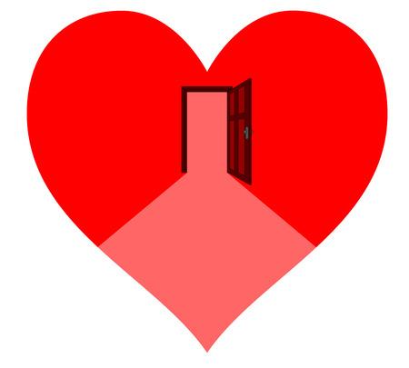 Offenen Tür in der roten Herz - Warten auf die Liebe Standard-Bild - 24241143