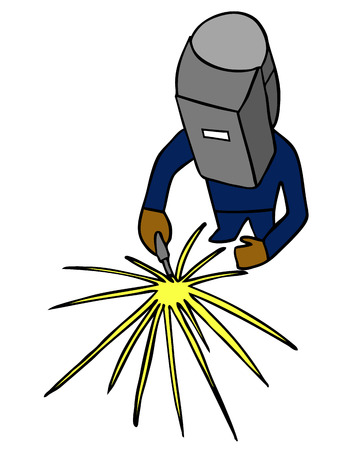 welder working in protective helmet and sparks Vector
