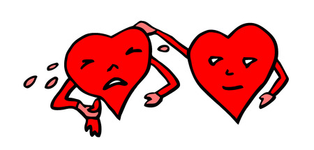 crying valentine heart comforted by other heart
