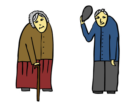 alte frau: Treffen der alten Frau und alter Mann Illustration