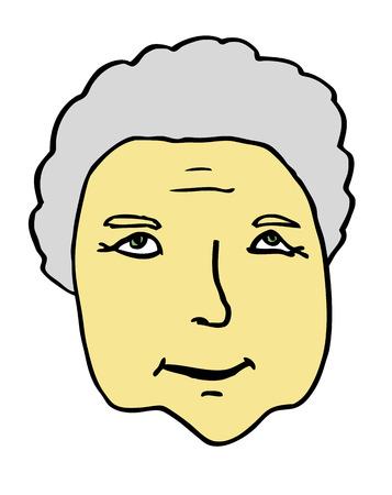 grannie: face of old, senior woman – grandmother, grannie Illustration