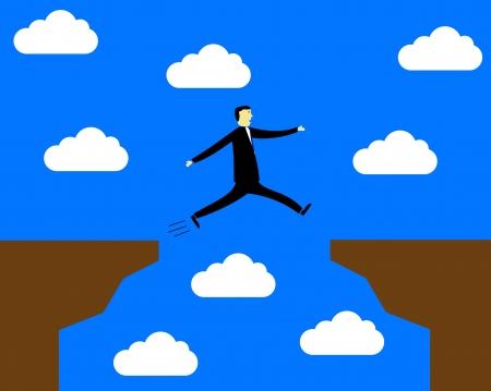precipice: businessman jumping over the precipice - overcomes difficulties