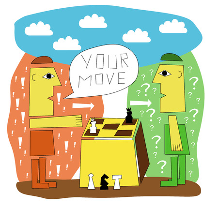 palying: two men playing chess – move of the second person Illustration