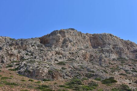 A rocky view on the mountain massif of the Greek island of Crete.