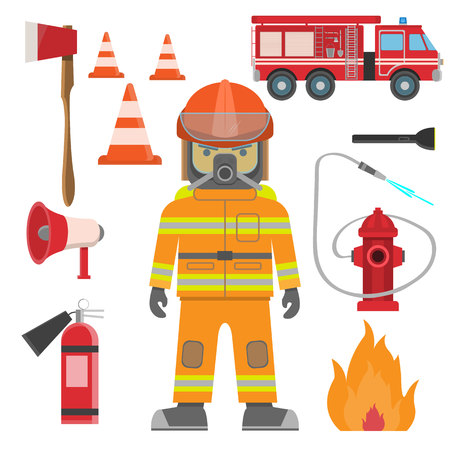 Firefighter and set of fire equipment. Vector fire man tools. Flat cartoon fire equipment objects isolated on white background. Fire safety objects vector illustration Illustration