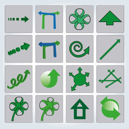 Set of green arrows. Vector illustration. Up and down Vector