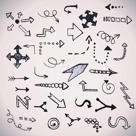 Hand drawn simple arrows set Vector