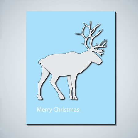 caribou: Minimalistic card with caribou. White deer on blue background. C