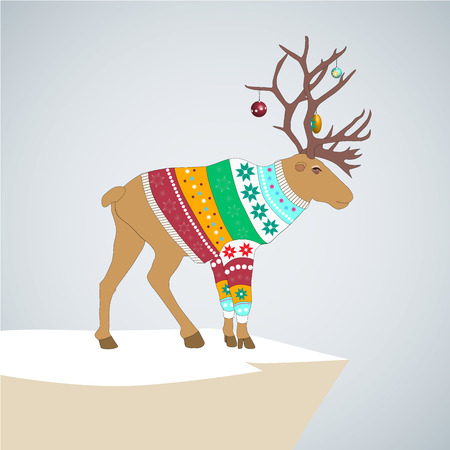 Editable vector illustration. caribou in colored striped sweater with Christmas toys on the horns. Vector