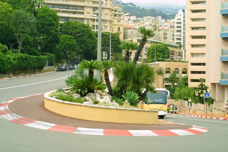 monaco: Famous Formula One hairpin (Grand Hotel Hairpin) in Monte Carlo Stock Photo