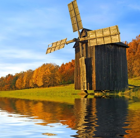traditional windmill: Windmill near the river