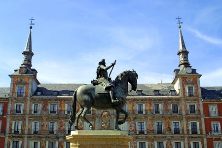 Statue of Philip III on the Plaza Mayor in Madrid, Spain photo