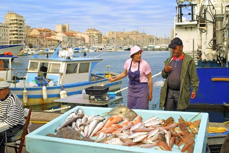 MARSEILLE, FRANCE - MAY 23: Fish fair at Canebiere street in Marseille. May 23, 2009