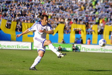 midfielder: KYIV, UKRAINE - MAY 26: Midfielder of Dynamo Kyiv football team Carlos Correa kick the ball in Ukraine Championship game at Valery Lobanovskyi stadium in Kyiv. May 26, 2009
