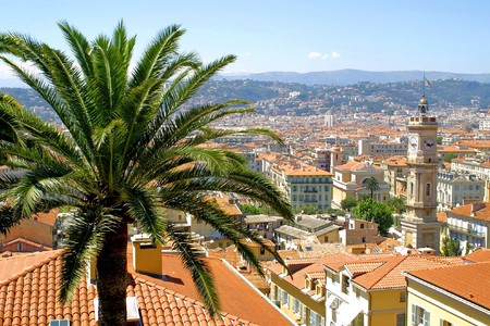 Bird view panorama of City of Nice, France