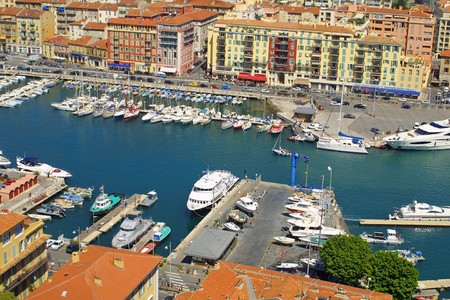 Bird view panorama of Port of City of Nice, France photo