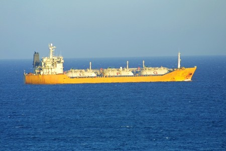 Ship in Mediterranean sea near Cyprus photo