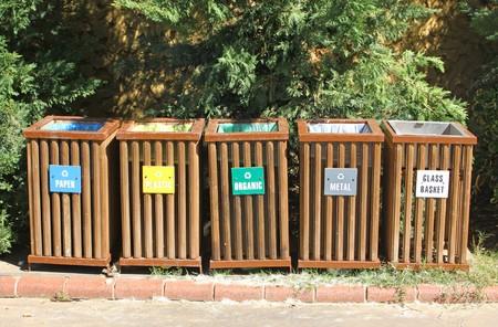 segregation: Five recycle bins for waste segregation