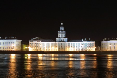 ethnography: Museum of Anthropology and Ethnography (The Kunstkamera) in night. Long exposure. Saint Petersburg, Russia