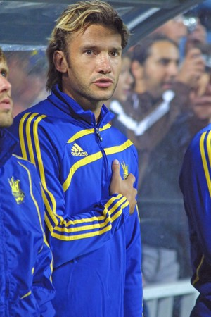 hymn: KYIV, UKRAINE - AUGUST 12, 2009: The forward of Ukraine National football team Andriy Shevchenko  sings the hymn before FIFA Friendly match between Ukraine and Turkey in Kyiv on August 12, 2009
