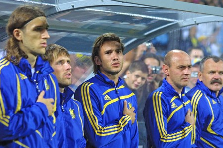 hymn: KYIV, UKRAINE - AUGUST 12, 2009: The players of Ukraine National football team sing the hymn before FIFA Friendly match between Ukraine and Turkey at Valery Lobanovskyi stadium in Kyiv on August 12, 2009