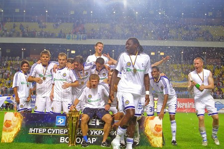 gusev: SUMY, UKRAINE - JULY 11, 2009: Team Dynamo Kyiv - The Winners of Ukraine Super Cup at  Editorial