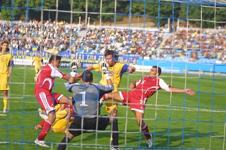 KYIV, UKRAINE - SEPTEMBER 05, 2009: Artem Milevskyi (#15), forward of Ukraine national football team attacks the goal during the 2010 FIFA World Cup qualifiers match against Andorra in Kyiv, Ukraine on September 5, 2009 Stock Photo - 7571849