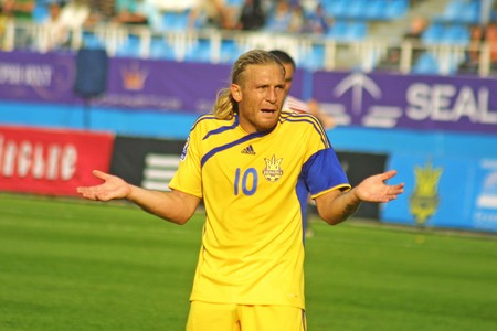 KYIV, UKRAINE - SEPTEMBER 5, 2009: Andriy Voronin, forward of Ukraine National Football team reacts after missed a goal against Andorra during 2010 FIFA World Cup qualifiers match in Kyiv on September 5, 2009