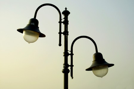 metall lamp: The couple of lamps on the lamppost. Paphos, Cyprus