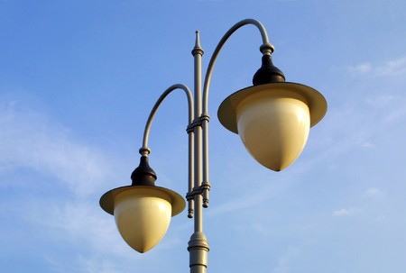 metall lamp: The couple of lamps on the lamppost