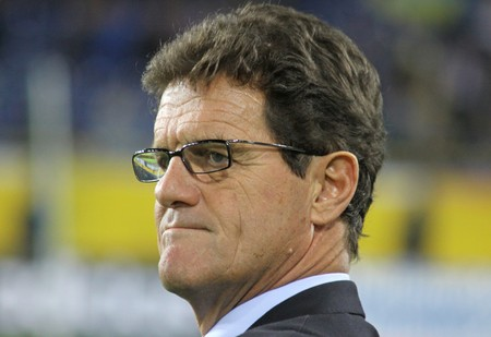 DNIPROPETROVSK, UKRAINE - OCTOBER 10, 2009: England manager Fabio Capello looks on during the FIFA 2010 World Cup Group 6 Qualifying match between Ukraine and England at the Dnipro Arena on Oct.10, 2009 in Dnipropetrovsk, Ukraine