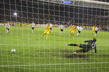DNIPROPETROVSK, UKRAINE - OCTOBER 10, 2009: Ukrainian forward Andriy Shevchenko missed the penalty during the FIFA 2010 World Cup Group 6 Qualifying match between Ukraine and England at the Dnipro Arena on October 10, 2009 in Dnepropetrovsk