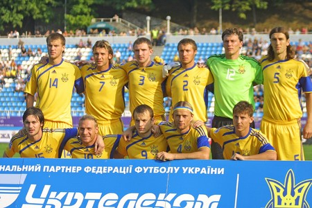 KYIV, UKRAINE - SEPTEMBER 05, 2009: Ukraine National Football team pose for a group photo before 2010 FIFA World Cup qualifiers match against Andorra in Kyiv on September 5, 2009 Editorial