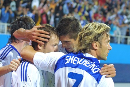 gusev: KYIV, UKRAINE - SEPTEMBER 16, 2009: Dynamo Kyiv team celebrates after Oleg Gusev (second from the left) scored against Rubin Kazan during UEFA Champions League game on Sep. 16, 2009 in Kyiv