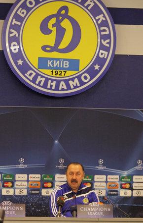 KIEV, UKRAINE - DECEMBER 8, 2009: FC Dynamo Kiev head coach Valeriy Gazzaev attends a press-conference before UEFA Champions League football match against FC Barcelona on December 8, 2009 in Kiev.