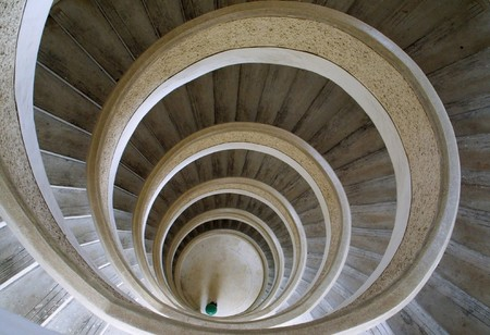 Circular stairs in Chinese temple in Singapore