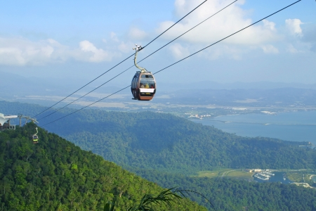 Langkawi hills cable car, Malaysia Stock Photo