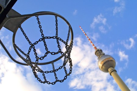 Basketball basket with Berlin Television Tower on the background
