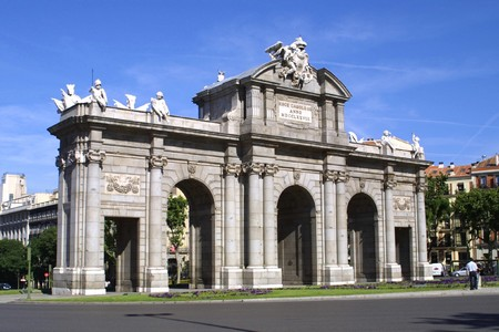 neoclassic: Alcala Gate (Puerta de Alcala) - Monument in the Independence Square in Madrid, Spain