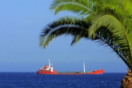 Ship in Mediterranean sea near Cyprus photo