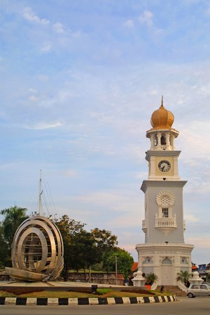 center hall colonial: Queen Victoria Clocktower in Georgetown, Penang island, Malaysia Stock Photo